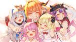 5girls ahoge amane_kanata angel_wings arm_around_shoulder asymmetrical_hair backlighting bangs baseball_cap bibi_(tokoyami_towa) black_choker black_headwear black_jacket black_shirt black_tank_top blonde_hair blue_hair blue_ribbon blush bow breasts brooch candy_hair_ornament choker closed_eyes collared_shirt colored_inner_hair commentary crescent crescent_earrings cropped_jacket crown detached_collar detached_sleeves diagonal-striped_bow dragon_girl dragon_horns dress earrings eyebrows_visible_through_hair facing_viewer fang food-themed_hair_ornament fur-trimmed_dress fur_trim grey_jacket grin group_hug hair_ornament hair_rings hairband hairclip halo halter_top halterneck hand_on_headwear hat himemori_luna hololive horn_bow horned_headwear horns hug izumi_sai jacket jewelry kiryu_coco long_hair long_sleeves medium_breasts midriff multicolored_hair multiple_girls navel navel_piercing off_shoulder open_mouth orange_hair parted_bangs piercing pink_hair purple_hair red_neckwear ribbon sheep_girl sheep_horns shirt short_hair side_ponytail silver_hair simple_background small_breasts smile streaked_hair tank_top teeth tokoyami_towa tsunomaki_watame turtleneck twintails two-tone_hair upper_body virtual_youtuber white_background white_dress white_jacket white_shirt wing_collar wings