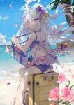 artist_name ass azusa_(blue_archive) bag beach blue_archive clouds dema_hmw flower hair_between_eyes hair_ornament halo highres looking_at_viewer ocean palm_tree sand silver_hair sitting sky swimsuit tree violet_eyes wings