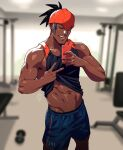 1boy abs bare_arms black_hair black_shirt blue_shorts blurry blurry_background closed_eyes clothes_lift commentary dark-skinned_male dark_skin dumbbell earrings gen_4_pokemon gym hands_up holding holding_phone indoors jewelry male_focus muscular muscular_male navel number open_mouth orange_headwear phone pokemon pokemon_(game) pokemon_swsh raihan_(pokemon) rotom rotom_phone selfie shirt shirt_lift short_hair shorts sleeveless sleeveless_shirt smile sweat teeth tongue undercut v xelgot |d