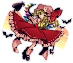 1girl absurdres arms_behind_back ascot bangs bat black_footwear blonde_hair bow closed_mouth clothes_lift crystal dutch_angle eyes_visible_through_hair flandre_scarlet frilled_shirt frilled_shirt_collar frilled_skirt frilled_sleeves frills full_body hat highres laevatein legs_together looking_at_viewer loose_socks medium_hair mob_cap one_side_up puffy_short_sleeves puffy_sleeves red_bow red_eyes red_skirt red_vest shirt short_sleeves side_ponytail skirt skirt_lift skirt_set solo touhou vest waist_bow wavy_hair white_background window wings yellow_neckwear yuka_yukiusa