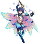 1girl bangs belt blue_eyes blue_hair boots bug butterfly cape detached_sleeves dootmoon falchion_(fire_emblem) fingerless_gloves fire_emblem fire_emblem_awakening fire_emblem_heroes full_body gloves hair_between_eyes highres holding holding_sword holding_weapon insect long_hair lucina_(fire_emblem) official_alternate_costume sheath smile solo sword thigh-highs thigh_boots tiara twitter_username weapon white_background