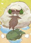 blush flying_sweatdrops gen_5_pokemon halftone highres kuroi_moyamoya no_humans nose_blush pokemon pokemon_(creature) pokemon_move solo substitute_(pokemon) thigh_gap whimsicott yellow_background