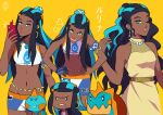 1girl armlet bare_arms belly_chain bike_shorts black_hair blue_eyes blue_eyeshadow blue_hair breasts chewtle closed_mouth commentary dark-skinned_female dark_skin drednaw dress earrings eyeshadow gen_4_pokemon gen_8_pokemon gym_leader hair_bun hands_on_hips holding holding_phone hoop_earrings imitating jewelry long_hair looking_at_viewer makeup multicolored_hair multiple_views navel necklace nessa_(pokemon) one_eye_closed parted_lips pearl_necklace phone pokemon pokemon_(creature) pokemon_(game) pokemon_swsh rotom rotom_phone simple_background sleeveless sleeveless_dress smile two-tone_hair xelgot yellow_background yellow_dress