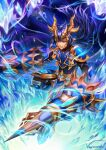 armor armored_boots blue blue_eyes boots brave_frontier cape crown gauntlets holding holding_weapon ice lance polearm raydn red_eyes spear vayreceane weapon
