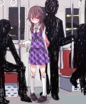 1girl 3others androgynous backpack bag brown_hair city_lights glasses indoors loafers multiple_others nervous no_hat no_headwear quimbaya_airplane school_uniform seat shiroshi_(denpa_eshidan) shoes short_twintails silhouette sitting socks standing thigh-highs touhou train_interior twintails usami_sumireko