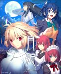 5girls apron arcueid_brunestud blonde_hair blue_eyes blue_hair blue_neckwear bow bowtie check_commentary ciel_(tsukihime) closed_mouth clouds commentary commentary_request company_name copyright_name full_moon green_neckwear hisui_(tsukihime) jewelry kohaku_(tsukihime) looking_at_viewer maid_apron maid_headdress moon multiple_girls necklace night night_sky official_art open_mouth orange_eyes promotional_art red_eyes red_neckwear redhead sky smile sweater takeuchi_takashi tohno_akiha tsukihime tsukihime_(remake) turtleneck turtleneck_sweater white_sweater