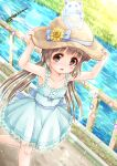 1girl :d animal armpits arms_up bare_arms bare_shoulders blue_bow blue_dress blush bow brown_eyes brown_hair bug center_frills collarbone commentary_request day dragonfly dress fan flower frilled_dress frills hands_on_headwear hat hat_bow hat_flower highres idolmaster idolmaster_cinderella_girls insect long_hair looking_at_viewer low_twintails open_mouth outdoors paper_fan pink_flower pleated_skirt purple_flower railing regular_mow river skirt sleeveless sleeveless_dress smile solo sweatdrop twintails uchiwa very_long_hair walking yellow_flower yorita_yoshino