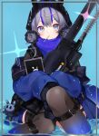 1girl absurdres animal_ears arknights bangs blue_eyes blue_hair blunt_bangs blush candy charm_(object) double_bun food food_in_mouth glaucus_(arknights) highres lollipop long_sleeves multicolored_hair railgun solo streaked_hair tablet_pc thigh-highs weapon yayotei