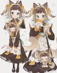 1girl ame_ame animal_ears boots burger chibi closed_eyes curly_hair dress drinking eating food full_body hair_ribbon half_updo highres long_dress long_sleeves milk_tea open_mouth original paw_print puffy_long_sleeves puffy_sleeves ribbon short_bangs tail two_side_up watermark