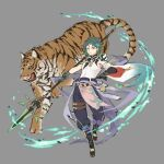 1boy animal armor asymmetrical_clothes bangs bead_necklace beads facial_mark forehead_mark full_body genshin_impact gloves green_hair grey_background highres holding holding_weapon jewelry male_focus multicolored_hair necklace papajay_(jennygin2) parted_lips polearm shoulder_armor simple_background solo spear spikes tassel tiger weapon xiao_(genshin_impact) yellow_eyes