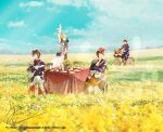 4boys armor baguette bicycle bicycle_basket black_gloves blonde_hair boots bread brown_hair charleville_(senjuushi) chassepot_(senjuushi) crossed_arms crossed_legs day field flower food fusui gloves gras_(senjuushi) ground_vehicle hat male_focus military military_uniform multiple_boys official_art outdoors riding senjuushi:_the_thousand_noble_musketeers_rhodoknight senjuushi_(series) shoulder_armor signature single_glove sitting sky tabatiere_(senjuushi) table tablecloth tea uniform waving