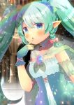 1girl :o bangs blue_bow blue_eyes blurry blurry_background blush bow braid breasts cape commentary_request depth_of_field dress eyebrows_visible_through_hair finger_to_mouth fingerless_gloves gloves green_cape green_gloves green_hair green_nails hair_between_eyes hair_bow hand_up indie_virtual_youtuber kouu_hiyoyo long_hair nail_polish parted_lips pastel_chrome pink_bow pointy_ears see-through side_braid single_braid small_breasts solo strapless strapless_dress twintails very_long_hair virtual_youtuber white_dress