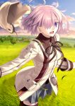 1girl beige_headwear brown_ribbon clouds fate/grand_order fate_(series) field grass grey_skirt hair_over_one_eye hat headwear_removed jacket looking_at_viewer lostroom_outfit_(fate) mash_kyrielight neck_ribbon official_alternate_costume official_art open_mouth pleated_skirt pocket purple_hair ribbon short_hair skirt smile solo standing takeuchi_takashi thigh-highs tree violet_eyes zettai_ryouiki