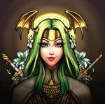 bad_source fire_emblem fire_emblem:_three_houses flower green_eyes green_hair hair_flower hair_ornament highres rhea_(fire_emblem) seiros_(fire_emblem) self_upload sword weapon
