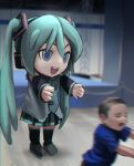 1boy 1girl absurdres aqua_eyes aqua_hair aqua_neckwear bare_shoulders black_skirt black_sleeves blue_eyes boots child cosplay detached_sleeves english_commentary full_body grey_shirt hair_ornament hatsune_miku headphones highres kigurumi knee_boots long_hair mikudayoo miniskirt motion_blur necktie open_mouth outstretched_arms photo-referenced pleated_skirt reaching running scaffolding shirt skirt sleeveless sleeveless_shirt smile stage standing twintails vertigris very_long_hair vocaloid