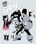 1boy 1girl ankle_boots asymmetrical_bangs bangs black_choker black_footwear black_hair black_jacket boots brother_and_sister choker commentary_request dress gen_8_pokemon grey_background gym_leader hair_ribbon jacket knees long_hair marnie_(pokemon) morpeko morpeko_(full) multicolored_hair obstagoon ohhhhhhtsu open_clothes open_jacket petting piers_(pokemon) pink_dress pink_eyes pokemon pokemon_(game) pokemon_swsh ribbon siblings simple_background speech_bubble standing thought_bubble translation_request two-tone_hair white_hair