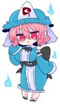 1girl black_bow black_ribbon blue_bow blue_kimono bow breasts frilled_kimono frills ghost hat highres hitodama japanese_clothes kimono large_breasts long_sleeves mob_cap neck_ribbon obi op_na_yarou pink_eyes pink_hair ribbon saigyouji_yuyuko sash short_hair touhou triangular_headpiece wavy_hair wide_sleeves