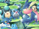 :d artist_name bright_pupils commentary_request day frogadier gen_1_pokemon gen_2_pokemon gen_5_pokemon gen_6_pokemon greninja grey_eyes hand_up highres lily_pad open_mouth outdoors palpitoad pokemon pokemon_(creature) politoed poliwag poliwhirl sasabunecafe seismitoad shiny sitting smile swimming tongue twitter_username tympole water water_drop white_pupils