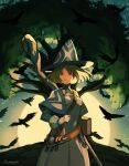 1girl bangs belt bird book brown_hair capelet crow fantasy full_moon gloves hat looking_at_viewer moon muraicchi_(momocchi) original red_eyes short_hair solo staff witch witch_hat