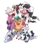 2boys ahoge bangs bede_(pokemon) belt bike_shorts black_hair boots closed_mouth coat commentary_request cropped_jacket cufant curly_hair flower galarian_form galarian_zigzagoon gen_8_pokemon green_eyes grey_hair gym_leader hatenna holding holding_flower jacket leggings long_hair male_focus multicolored_hair multiple_boys ohhhhhhtsu petals piers_(pokemon) pokemon pokemon_(creature) pokemon_(game) pokemon_swsh purple_coat purple_footwear red_flower shirt shoes short_hair smile standing two-tone_hair violet_eyes watch watch white_hair white_jacket