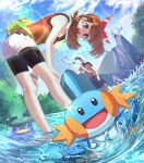 1boy 1girl :d bent_over bike_shorts black_shorts blue_eyes blue_sky bow bow_hairband bracelet brendan_(pokemon) brown_hair clouds collarbone day gen_3_pokemon hair_bow hairband hands_on_own_knees highres jewelry lens_flare long_hair looking_at_viewer lotad may_(pokemon) mudkip open_mouth outdoors pokemon pokemon_(creature) pokemon_(game) pokemon_oras red_bow red_hairband red_shirt shiny shiny_hair shirt short_shorts short_sleeves shorts shorts_under_shorts sky sleeveless sleeveless_shirt smile soaking_feet starter_pokemon sueon00 summer white_headwear white_shorts wingull