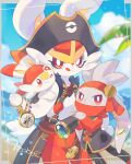 :q artist_name bandana blurry bright_pupils cinderace closed_mouth clothed_pokemon clouds coat commentary_request compass day framed gen_8_pokemon glint hat hatted_pokemon heart holding izobe looking_at_viewer orange_bandana outdoors pirate_hat poke_ball_print pokemon pokemon_unite raboot red_eyes scorbunny sky smile spyglass tongue tongue_out water_drop white_pupils