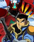 1boy black_hair blu-ray_cover brown_eyes claws clouds cover getter_arc getter_robo getter_robo_arc glowing glowing_eyes gun hair_behind_ear handgun highres holding holding_gun holding_weapon looking_to_the_side mecha nagare_takuma official_art open_mouth pilot_suit revolver science_fiction sky upper_body v-shaped_eyebrows weapon yellow_eyes