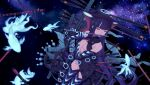 1girl absurdres blue_fire breasts center_opening daisi_gi elbow_gloves fate/grand_order fate_(series) fire fish flute gloves hair_ornament halo highres instrument leaf_hair_ornament medium_breasts music playing_instrument purple_hair starry_background thigh-highs violet_eyes yang_guifei_(fate)