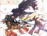 1boy alternate_costume arm_up bangs black_pants commentary_request confetti corviknight gen_4_pokemon gen_7_pokemon gen_8_pokemon gloves inteleon jacket looking_up male_focus mudsdale ohhhhhhtsu open_clothes open_jacket pants partially_fingerless_gloves pokemon pokemon_(creature) pokemon_(game) pokemon_swsh riding riding_pokemon running shiny shoes sitting sitting_sideways snom toxtricity toxtricity_(amped) victor_(pokemon) weavile white_background white_footwear