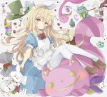 1girl absurdres alice_(alice_in_wonderland) alice_in_wonderland animal apron bangs bird blonde_hair blue_dress blush brown_footwear card cat checkerboard_cookie cheshire_cat_(alice_in_wonderland) closed_mouth clothed_animal club_(shape) commentary_request cookie cup cupcake diamond_(shape) dress drink_me eat_me english_text eyebrows_visible_through_hair flamingo food fork frilled_apron frills green_eyes green_headwear green_pants hair_between_eyes hair_ribbon hairband hat heart highres holding holding_pipe loafers mad_hatter_(alice_in_wonderland) pants pipe playing_card pocket_watch puffy_short_sleeves puffy_sleeves rabbit red_vest ribbon shoes short_eyebrows short_sleeves sign smile spade_(shape) tea teacup thick_eyebrows thigh-highs top_hat tsukiyo_(skymint) vest watch white_apron white_hairband white_legwear white_rabbit_(alice_in_wonderland) white_ribbon
