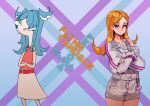 2girls animal_ears blue_eyes blue_hair candace_gertrude_flynn candace_gertrude_flynn_(cosplay) cartoonized character_name collarbone cosplay costume_switch crossed_arms dragon_ears elira_pendora elira_pendora_(cosplay) english_commentary grey_overalls hair_behind_ear hair_over_one_eye highres kale_yville multiple_girls nijisanji nijisanji_en one_eye_covered orange_hair overall_shorts overalls parody phineas_and_ferb sleeveless_sweater smile style_parody sweater violet_eyes virtual_youtuber white_sweater