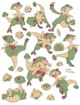 1other :< ? breloom claws closed_mouth commentary_request dated evolutionary_line feeding food gen_3_pokemon grey_eyes holding holding_food jumping legs_apart motion_lines ohhhhhhtsu open_mouth pokemon pokemon_(creature) shroomish simple_background sitting standing tongue twitter_username white_background