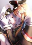 2girls azur_lane bangs bismarck_(azur_lane) blonde_hair blue_eyes breasts cacao_(suisaixx) cape closed_eyes closed_mouth cross cross_earrings earrings eyebrows_visible_through_hair from_side fur-trimmed_cape fur_trim gloves hat highres iron_cross jewelry large_breasts long_hair looking_at_another medium_hair military military_hat military_uniform multiple_girls open_mouth peaked_cap silver_hair tirpitz_(azur_lane) uniform white_gloves