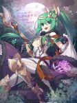 artemis_(p&d) breasts green_eyes green_hair highres kozakura_(dictionary) medium_breasts ponytail puzzle_&_dragons