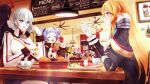 6+girls admiral_hipper_(azur_lane) azur_lane bangs bismarck_(azur_lane) black_hair blonde_hair blue_eyes bread breasts cacao_(suisaixx) ceiling_fan ceiling_light character_request chewing closed_eyes closed_mouth cup flag food fork friedrich_der_grosse_(azur_lane) fruit gloves hair_between_eyes high_collar holding holding_fork horns indoors large_breasts long_hair looking_at_another mechanical_horns medium_hair menu_board military military_uniform multiple_girls picture_(object) picture_frame prinz_eugen_(azur_lane) purple_hair red_gloves red_horns silver_hair table tirpitz_(azur_lane) twintails u-556_(azur_lane) uniform vegetable white_gloves z23_(azur_lane)