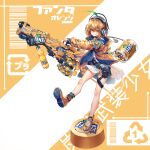 1girl anklet arrow_(symbol) background_text bangs barcode belt black_belt bob_cut bottle_cap commentary cross-laced_footwear dress english_text eyebrows_visible_through_hair fang fanta grin gun headphones heirou highres holding holding_gun holding_weapon hood hood_down hooded_jacket huge_weapon jacket jewelry leaf leg_up logo long_sleeves looking_at_viewer no_socks open_clothes open_jacket orange_eyes orange_footwear orange_hair orange_jacket original pouch recycling_symbol shoes short_dress short_hair smile sneakers soda_bottle solo standing standing_on_one_leg thigh_strap translated weapon white_dress