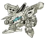 armored_core armored_core:_for_answer blue_eyes clenched_hands extra_eyes horns kin-san_(sasuraiga) mashin_eiyuuden_wataru mecha no_humans parody science_fiction single_horn solo style_parody white_background white_glint