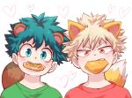 2boys alternate_costume animal_ears bakugou_katsuki bangs blonde_hair boku_no_hero_academia commentary_request cookie eyebrows_visible_through_hair food food_in_mouth fox_ears fox_tail freckles green_eyes green_shirt heart kemonomimi_mode looking_at_viewer male_focus midoriya_izuku mouth_hold multiple_boys portrait raccoon_boy raccoon_ears raccoon_tail red_eyes red_shirt shirt simple_background tail tonomayo v-shaped_eyebrows white_background