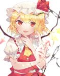 1girl :d ascot bangs blonde_hair blurry blurry_background blurry_foreground child crystal eyebrows_visible_through_hair fang flandre_scarlet hat hat_ribbon highres index_finger_raised itomugi-kun light_particles looking_at_viewer medium_hair mob_cap open_mouth puffy_short_sleeves puffy_sleeves red_eyes red_ribbon red_vest ribbon shirt short_sleeves side_ponytail simple_background smile solo touhou upper_body vest white_background white_headwear white_shirt wings yellow_neckwear
