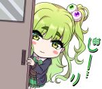 1girl blush blush_stickers bow bowtie chibi commentary_request door eyeball_hair_ornament eyebrows_visible_through_hair fake_nails green_eyes green_hair jacket long_hair looking_at_viewer multicolored multicolored_nails original osanai_(shashaki) peeking school_uniform shashaki side_ponytail skirt solo thick_eyebrows translation_request white_background