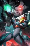 1girl absurdres arm_cannon claws dansyronart e.m.m.i._(metroid) english_text highres laser looking_at_another metroid metroid_dread one-eyed one_eye_covered power_armor red_eyes robot samus_aran size_difference sparks watermark weapon web_address