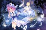 ayane_yui blue_kimono bridge fireworks ghost green_skirt green_vest hat highres japanese_clothes kimono konpaku_youmu konpaku_youmu_(ghost) lantern long_sleeves mob_cap neck_ribbon night pink_eyes pink_hair ribbon saigyouji_yuyuko short_hair silver_hair skirt spirit touhou tree triangular_headpiece vest wavy_hair