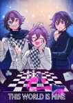 3boys :d bangs bishop_(chess) black_cape black_jacket blood cape card cele_(310v3) checkered checkered_floor checkered_scarf chess_piece commentary danganronpa_(series) danganronpa_v3:_killing_harmony dice english_commentary english_text eyebrows_visible_through_hair facing_viewer grin hair_between_eyes hand_on_own_cheek hand_on_own_face hand_up hands_up highres jacket king_(chess) male_focus multiple_boys multiple_persona official_alternate_costume open_mouth ouma_kokichi pink_blood playing_card purple_hair queen_(chess) rook_(chess) scarf sitting smile sweatdrop thinking violet_eyes