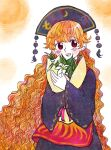 1girl bangs black_headwear blonde_hair blush bouquet commentary_request flower highres holding holding_bouquet junko_(touhou) kokeshi_(yoi_no_myoujou) lily_(flower) long_hair long_sleeves looking_at_viewer open_mouth red_eyes sketch smile tabard touhou upper_body very_long_hair wavy_hair white_flower wide_sleeves