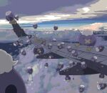above_clouds aircraft airplane balloon black_eyes clouds commentary_request donguri_big drifblim drifloon flying gen_4_pokemon hanging highres holding looking_at_viewer no_humans outdoors peeking_out pokemon pokemon_(creature) red_eyes solid_circle_eyes