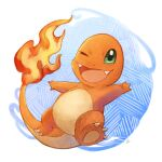 ;d charmander claws commentary_request fangs fire full_body gen_1_pokemon green_eyes hakumai_(hakumai_art) highres no_humans one_eye_closed open_mouth outstretched_arms pokemon pokemon_(creature) smile solo starter_pokemon tongue