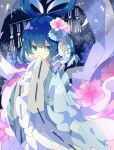 1girl adapted_costume bangs blue_eyes blue_flower blue_hair blue_kimono covering_mouth eyebrows_behind_hair flower flower_request hagoromo hair_flower hair_ornament hair_rings hair_stick hands_up highres japanese_clothes kaku_seiga kimono looking_to_the_side nikorashi-ka pink_flower ribbon-trimmed_sleeves ribbon_trim shawl short_hair solo touhou upper_body wide_sleeves