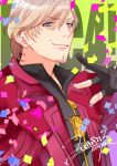 1boy artist_name black_gloves black_shirt blue_eyes coat confetti dante_(devil_may_cry) dated devil_may_cry_(series) devil_may_cry_4 dmc_pa facial_hair gloves green_background hair_between_eyes male_focus partially_fingerless_gloves shirt signature simple_background smile solo white_hair zipper_pull_tab