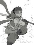 1boy asaya_minoru closed_mouth fishnets gloves greyscale headband holding holding_sword holding_weapon kamura_(armor) katana male_focus monochrome monster_hunter_(series) monster_hunter_rise puffy_pants ready_to_draw sheath sheathed sketch solo standing sword twitter_username weapon white_background zouri