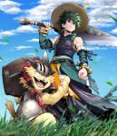 1boy animal armor bakugou_katsuki bare_shoulders barrel boku_no_hero_academia breastplate cat claws clenched_hand closed_mouth clothing_request clouds commentary_request copyright_request day detached_sleeves fangs from_below grass green_eyes green_hair hat hat_feather helmet highres holding holding_sword holding_weapon horns male_focus midoriya_izuku open_mouth outdoors over_shoulder serious sharp_teeth short_hair sword teeth tonomayo torn_clothes twitter_username weapon weapon_over_shoulder